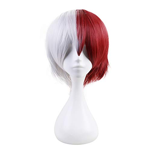 YOPO Short Wigs Half White Half Red Cosplay Wig Anime Unisex Todoroki Boku Costume Wigs for Boys Men with Wig Cap(Half Red Half White)