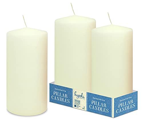 HYOOLA Ivory Pillar Candles 4x8 Inch - Unscented Pillar Candles - 2-Pack - European Made
