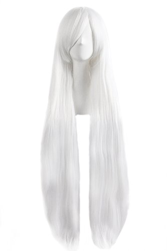 """MapofBeauty 40"""" 100cm White Long Straight Cosplay Costume Wig Fashion Party Wig"""