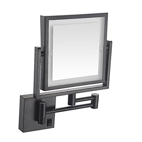 SXFYMWY Espejo de Maquillaje LED para baño con luz Cuadrada telescópica Plegable de un Solo Lado Montado en la Pared 3 aumentos 8 Pulgadas Espejo de Belleza, Negro