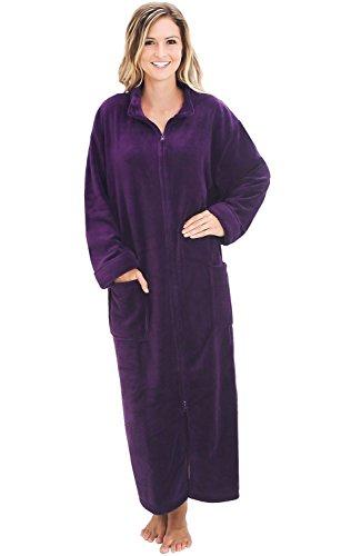 Alexander Del Rossa Women's Zip Up Fleece Robe, Warm Loose Bathrobe, Small-Medium Purple (A0300PURMD)