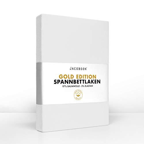 Jacobson Gold Edition Jersey Spannbettlaken Spannbetttuch Baumwolle mit ELASTAN ca. 200 g/m² (140-160 x 220 cm + 40cm, Weiss)