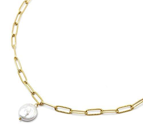 Oh My Shop CC3472 - Collar con cadena de eslabones de acero dorado y colgante perla de agua dulce