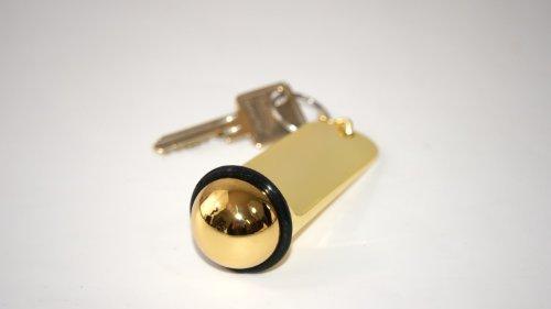 Schlüsselanhänger Hotelschlüssel Anhänger gold Alu mit Gummiring, Abmessungen 11x3 cm, ohne Gravur 1 Stück