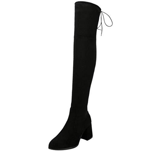 BeiaMina Damen Elegant Lange Stiefel Blockabsatz Herbst Winter Schuhe Reißverschluss Über Die Kniestiefel Klobige Fersen Black Gr 39 Asiatisch