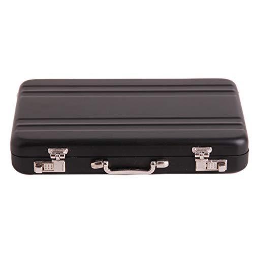 LJSLYJ wasserdichte Aluminium Credit Case Box Mini-Aktentasche Visitenkartenetui ID-Halter Password Box, schwarz