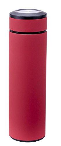 Culinario Thermoflasche mit Tee-Einsatz, aus Edelstahl/Kunststoff, doppelwandig, trendiges Design, 0,48 Liter, in rot