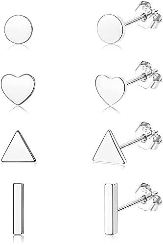 MILACOLATO 4 Pares Pendientes Plata de ley 925, Chapados en Oro de 18 Quilates, con Forma de Triángulo con Forma de Barra Minimalistas Pequeños con Cartílago Tragus Pendientes Para Mujeres y Hombres