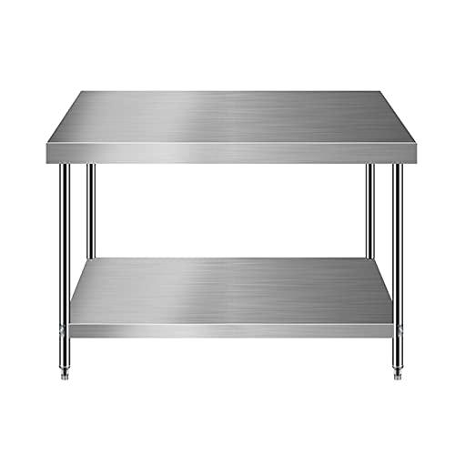 Mesa de cocina comercial de metal, mesa de trabajo de preparación de alimentos, con estante y pie de mesa ajustable, mesa de acero inoxidable de base abierta, para cocina de restaurante y hotel