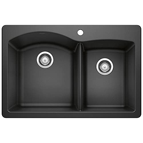 BLANCO 440215 Diamond Silgranit 60/40 Double Bowl Undermount or Drop-In Kitchen Sink, 33' x 22' x...