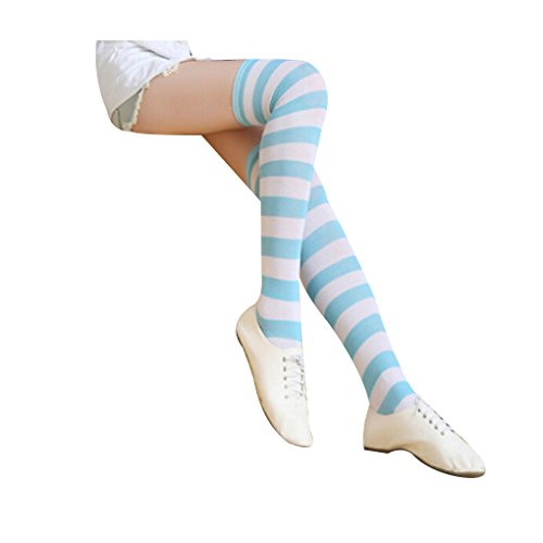 Women's Cute Colorful Long Striped Socks Over Knee High Stockings,Wide,blue&white
