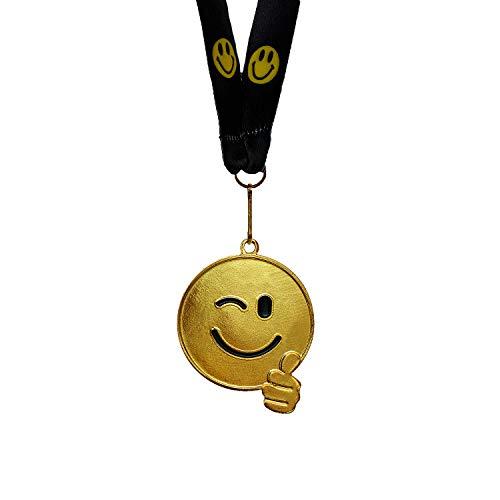 Zelaro Medaille Lustig für Kindergeburtstag – 5 Stück Medaillen als Mitgebsel Kindergeburtstag, Geschenk, Party, Spiele und Gewinner Goldmedaillen mit Band aus Metall