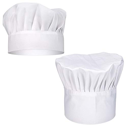 SAVITA 2PCS Chef Hat Charming Round-top ElasticAdjustable Breathable CookHat for Adult/Kids, White