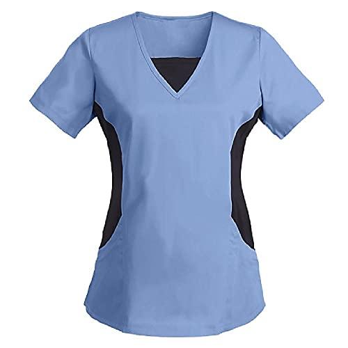 N\P Mujeres de manga corta con cuello en V Tops Color