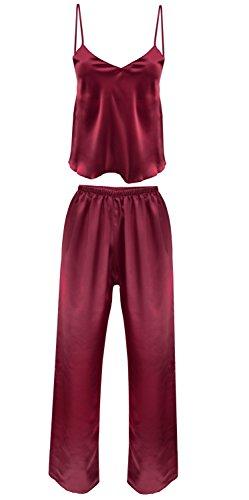 Nachtwäsche Damen Satin Schlafanzug Lang Pyjama Zweiteiler Spaghettiträger Top Schlafanzughose lang IGA (M, Bordeaux)