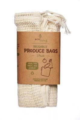 Eco Living natürliche Bio-Brotbeutel, wiederverwendbar, 100 % plastikfrei, geeignet für Veganer.
