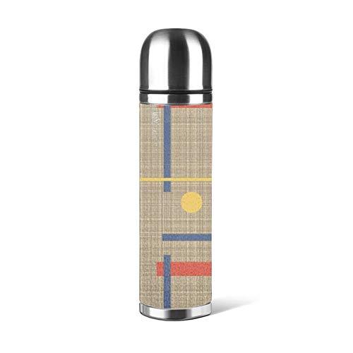 Botella de agua de acero inoxidable un guiño a Bauhaus aislado al vacío de cuero a...