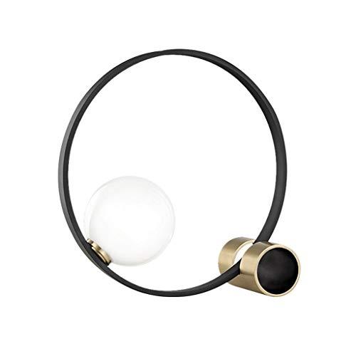 Lámpara de Mesa Minimalista Mesita de luz de la lámpara, lámpara de noche moderna con la bola de cristal y el metal del anillo, lámpara de mesa simple for el dormitorio, sala de estar, oficina-negro L
