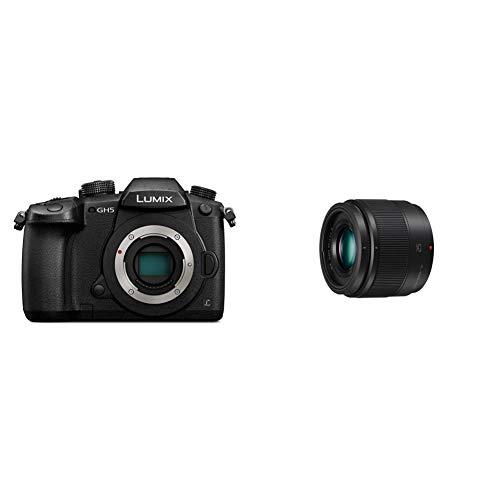 Panasonic LUMIX Systemkamera DC-GH5EG-K, 20 MP, Dual I.S, 4K 60p Video, schwarz & H-H025E LUMIX G Festbrennweiten 25 mm F1.7 ASPH. Objektiv (Filtergröße 46 mm, Naheinstellgrenze 0,25 m) schwarz