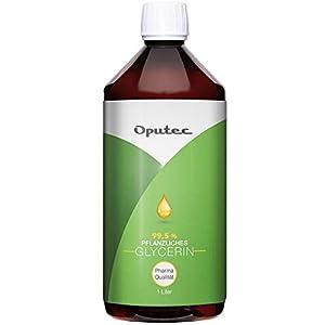 Oputec 1 litro de glicerina vegetal en calidad farmacéutica – 1000 ml Glicerina líquida en Ph. Calidad europea, para cremas, jabones, extractos y shisha – Calidad alimentaria sin perfume.