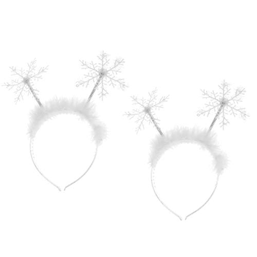 Lurrose 2pcs Christmas Feather Snowflake Headbands Merry Christmas Hairbands Head Boppers Headdress Costume Props for Women Girls Children