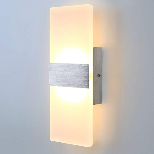Lightess Modern Wall Sconces 12W LED Wall Lights Up Down Wall Lamp Acrylic for Bedrooms Hallway Corridor, Warm White, HS521-2