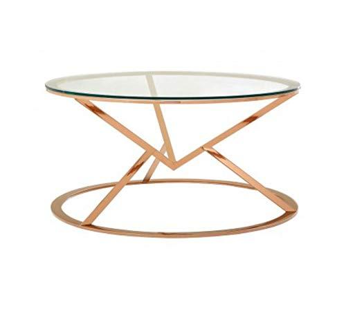 Designer Sofas4u Allure - Mesa de café Redonda con corsé, Color Oro Rosa