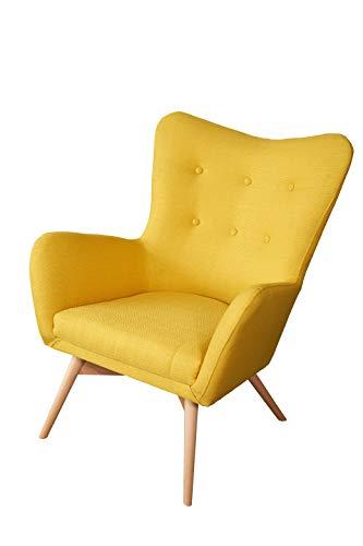 MebLiebe Primo Skandinavisch Sessel | H77 x L80 x B95 cm | Gepolsterter Ohrensessel mit eleganten Armen | strapazierfähiges, lichtbeständiges Gewebe