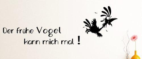 Dotzler Design Wandtattoo – Der frühe Vogel kann Mich mal ! ca 65 x 30 cm schwarz