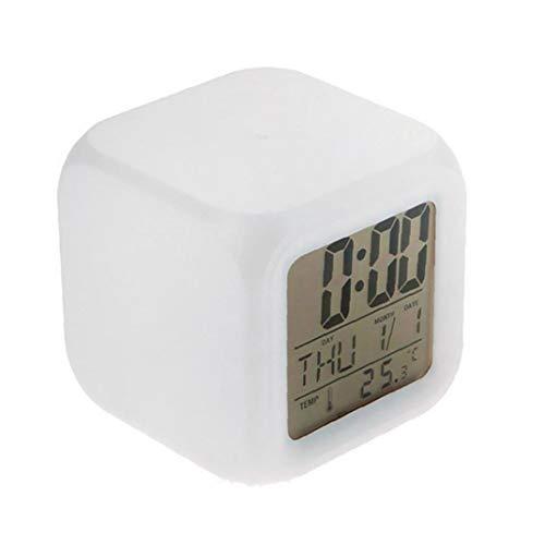 Relojes de los relojes de alarma digitales Niños 12/24 Horas grandes números Pantalla con luz nocturna de alarma, Repetir, Calendario para los dormitorios de los niños traen latido del corazón
