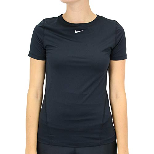 Nike Damen W Np Top Ss All Over Mesh Unterhemd, black/(white), L