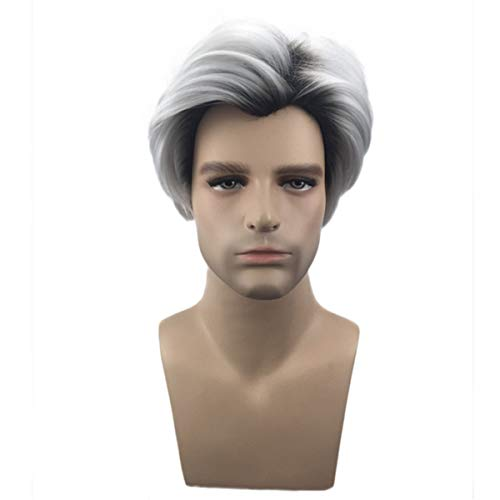 Movie Genealogie 2 Carlos Cosplay Pruik Gradient Gray White Pruik Heren Kort haar, 28cm White Mixed Black Silver Grey Wig