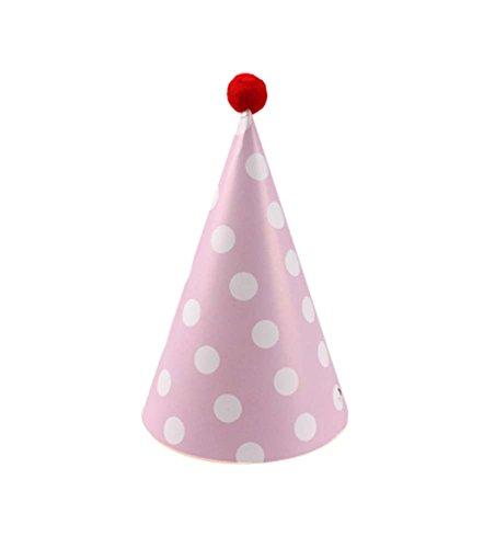 Blancho Pink Dots, Fournitures 7Pcs d'anniversaire d'enfants Hat Party Party Hat