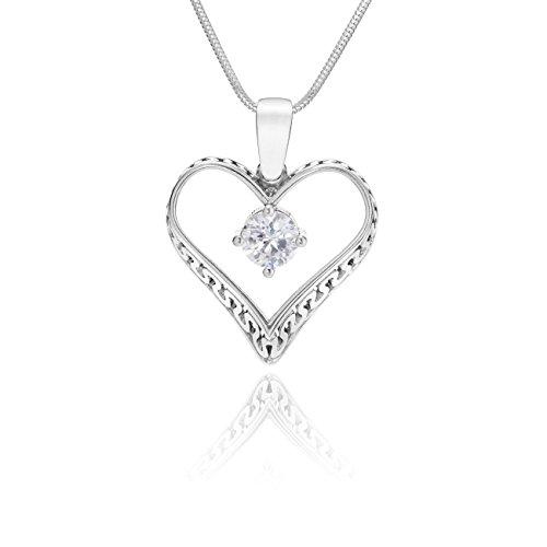 LillyMarie Damen Massive Silberkette Silber 925 Herz-Anhänger mit Zirkonia Klar Längen-verstellbar Hochwertiges Etui aus Holz Geschenke