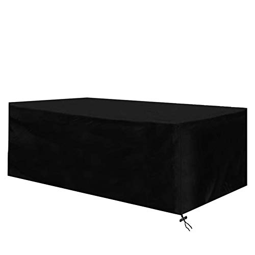 Diossad Housse de Protection Table de Jardin Rectangulaire Polyester pour Meuble de Jardin Noir 270x180x89cm