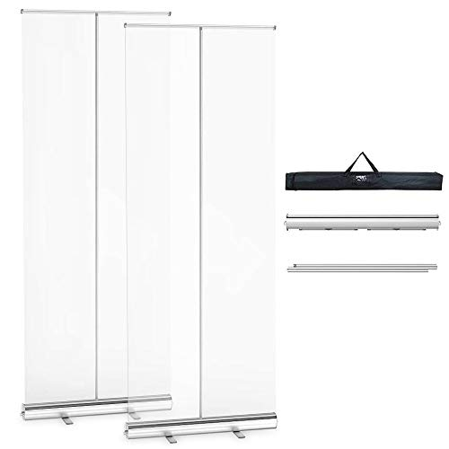 Pack of 2 Floor Standing Sneeze Guard - 80'H X 32'W Portable Pull-Out Banner with Clear Screen Shield for Office, Restaurant, Classroom, Retail Stores, Cashier