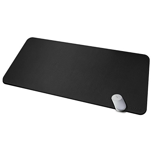 Multifunktionale Schreibtischunterlage, 100 x 50 cm ultradünn, wasserdicht, PU-Leder, Mauspad, zweiseitig nutzbar, für Büro/Zuhause (Schwarz, 39.3