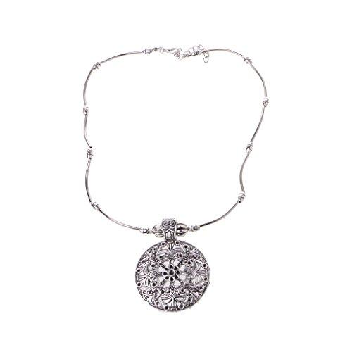 Bingxue Retro Tibetano Flor de la Vida Mandala Tallado Metal Colgante Collar joyería Gitana