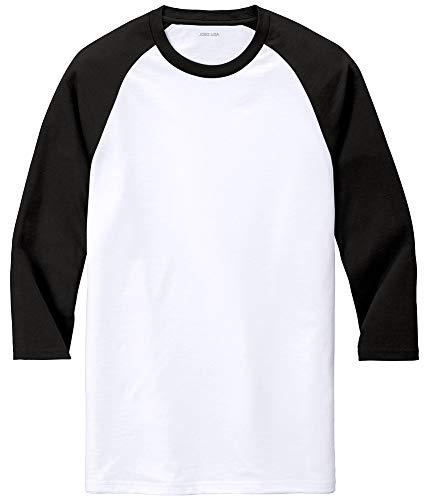 Joe's USA Men's 3/4 Raglan Baseball T-Shirt-Black/White-4XL