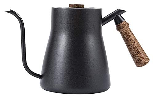 FAQUAN Hervidor de Goteo de café de Acero Inoxidable con Cuello de Cisne Olla de Acero Inoxidable Moka (Color: Negro, Tamaño: Sin termómetro)