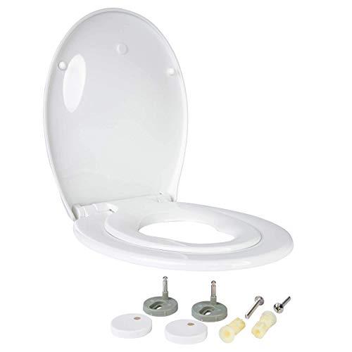 ONVAYA® Familien WC Sitz mit Absenkautomatik | Verkleinerbarer Toilettendeckel für Kinder | Weiße Toilettenbrille | Klodeckel mit integriertem Kindersitz