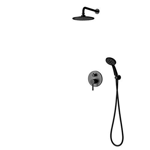 ShiSyan Ducha de Mano Ducha de bañera del Sistema, montado en la Pared Grifo de la Ducha de Alta presión con Ducha de Lluvia y Ducha de Mano Head Set de Baño, Negro, de fácil instalación