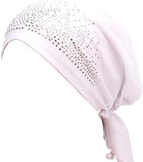 Turban Women Hat Headband Islamic Head Wrap Bonnet Headscarf Muslim Cap Bandana (White)