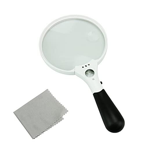 PITHECUS 拡大鏡 ルーペ 手持ちルーペ LEDライト付き 2倍 4倍 25倍 軽量 虫眼鏡 大きい 見やすい 説明書・60日保証書付