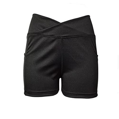 Damen Biker Shorts Mit Hoher Taille Cross Waist Workout Yoga Short, Leggings Sommer Hohe Taille Kurze Radlerhose Yogahose Gym Bike Laufhose Legging Mit Tasche XL schwarz
