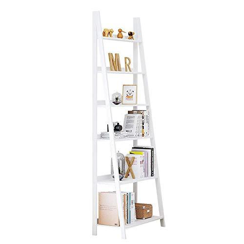 JCNFA planken boekenplank massief hout ladder DIY montage plank muur plank ruimtebesparende cd's albums boeken houder woonkamer kantoor 25 * 14.01 * 75.98in Kleur: wit