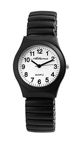 Adrina Damen - Armbanduhr Zugarmband Analog Quarz Metall 1700045 (Schwarz)