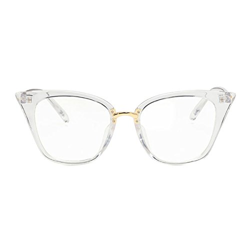Shortsighted Glasses Womens Stylish Cat Eye Myopia Glasses for Long Distance Transparent White Frame -0.75 *** These are not Reading Glasses***