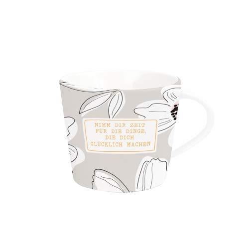 Grafik Werkstatt Kaffee-Tasse mit Echtgold | Porzellan Tasse | 420 ml | Glücklich