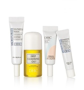 DHC Bestselling Beauty Essentials Travel Size, Deep Cleansing Oil, Velvet Skin Coat, Concentrated Eye Cream, Extra Nighttime Moisture, Fragrance and Colorant Free, Ideal for all skin types